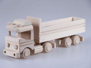 70cm Holzspielzeug Tieflader/ großer Spielzeug Holz-LKW mit Anhänger Baufahrzeuge