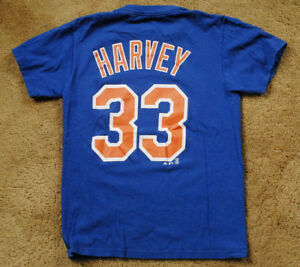 new style 93da6 a3adc Details about MATT HARVEY 33 New York Mets short sleeve blue t shirt size S  Majestic