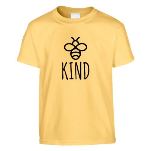 Bee Kind Kids T Shirt Slogan Top Spread Love Kindness Empathy Positivity Fashion