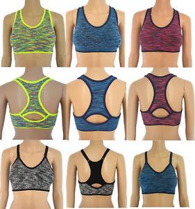 Dettagli su SPORT BH Microfibra Reggiseno Bustino Da Donna Top Push Up seamles Fitness Yoga SENZA STAFFA mostra il titolo originale