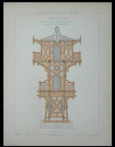 MEDOC- KIOSQUE GARDE VIGNOBLE - GRAVURE 1880 - CHARPENTE DECORATIVE eBVn1lbm-07135326-289286128