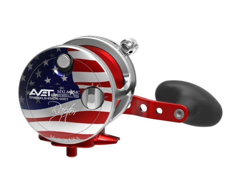 Avet RAPTOR MXL6 4 MC 2-Speed Lever Drag Reel MC Cast - PATRIOT Flag Right Hand
