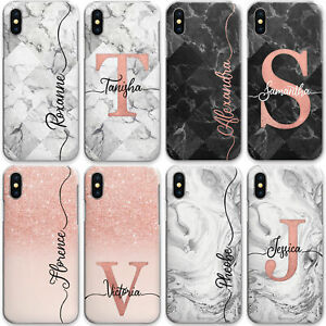 Personalised-Phone-Case-Marble-Hard-Cover-for-Apple-iPhone-11-X-8-Initials-Name