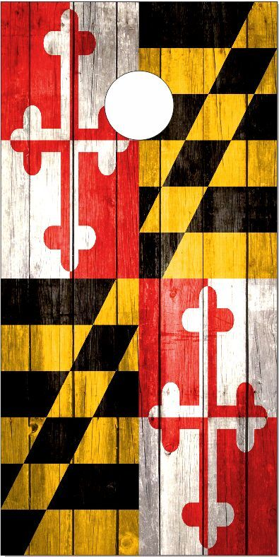 Maryland Flag Weathered Wood LAMINATED Cornhole Wrap  Bag Toss Skin Decal  outlet sale