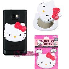 Hello Kitty Cellphone Mirror Sticker : White Face w/ Pink Ribbon