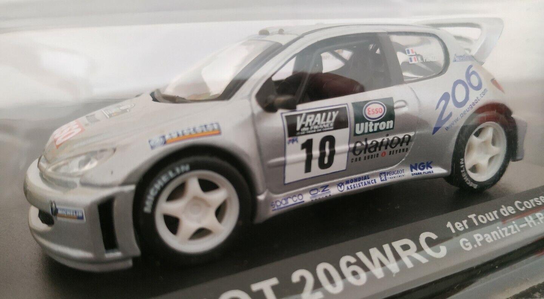 1 43 peugeot 206 wrc tour de corse 2000 G. panizzi H. panizzi scale metal car