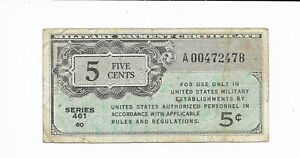 Replacement-5-Cents-MPC-Series-461-Military-Payment-Certificate-Note-STAR