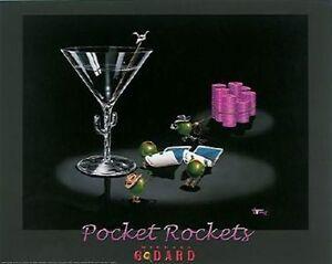 "Michael Godard ""POCKET ROCKETS"" Gambling-Texas Hold Em-Poker-Poster on Board-Art"