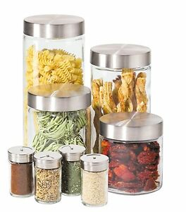 Image is loading Glass-Canister-Spice-Jars-Set-Flour-Sugar-Stainless-  sc 1 st  eBay & Glass Canister Spice Jars Set Flour Sugar Stainless Steel Kitchen ...