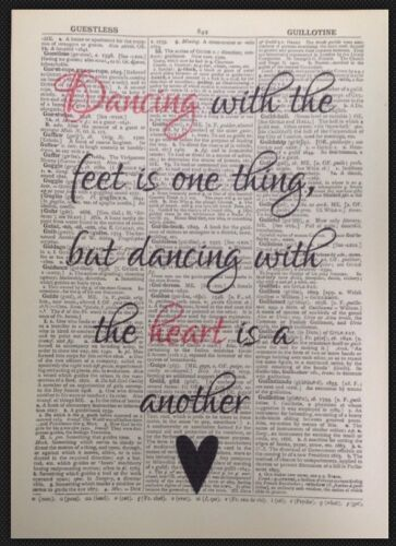 Dancing Heart Quote Print Vintage Dictionary Page Wall Art Love Cute Gift