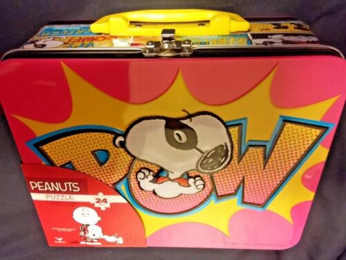 """Peanuts SNOOPY Tin Tote Metal Lunch Box w 24 Piece Puzzle 15/"""" X 12.5/"""" BEAGLE"""