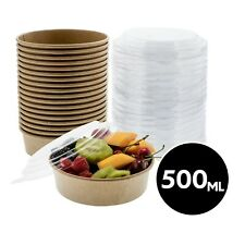 500ml Food Storage Meal Prep Container Kraft Paper Bowl With Lid 50 200 Pack