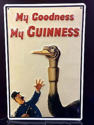 GUINNESS Ostrich Vtg Metal Pub Sign 3D Embossed Steel Decor,Irish
