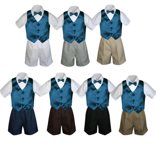 4pc Set Boy Toddler Formal Green Teal Bow tie Vest Brown Black Khaki Shorts S-4
