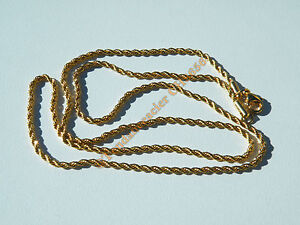 Chaine Collier 55 cm Pur Acier Inoxydable Doré Plaqué Or Maille Torsadé Wire 2mm