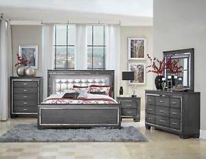Details About Glitzy 4 Pc Gray Mirrored Led Lights Queen Bed N S Dresser Bedroom Set