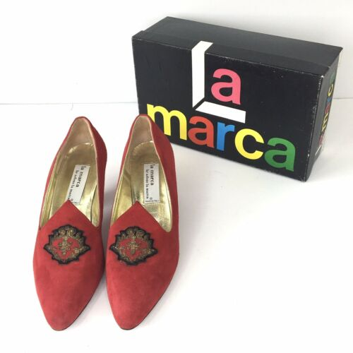 La Marca Italian Red Suede Pumps With Gold And Bla