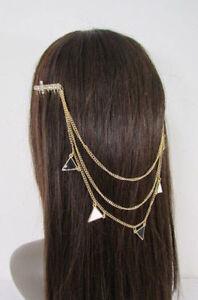 New-Women-Gold-Head-Metal-Chains-Fashion-Crosses-Jewelry-Hair-Rhinestones-Pins