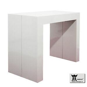 Tavolo consolle allungabile laccato bianco lucido fino a 300 cm ...