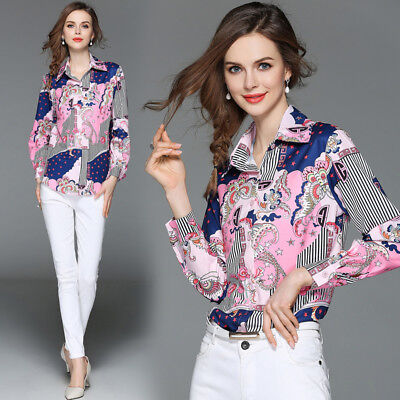 2018 spring womens fashion temperament printing turn-down collar chiffon shirt s