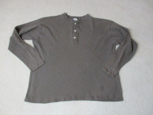 Stussy Long Sleeve Shirt Adult Large Brown Henley Button Up Streetwear Skater *