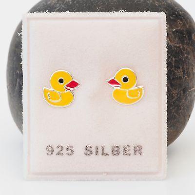 NEU 925 Silber OHRSTECKER ENTEN in gelb//rot//schwarz ENTCHEN DUCK OHRRINGE