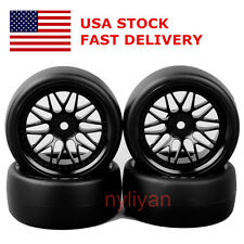 4Pcs 1:10 RC On-Road Racing Car Flat Drift Tires&Wheel Rim 12mm Hex 6mm Offset