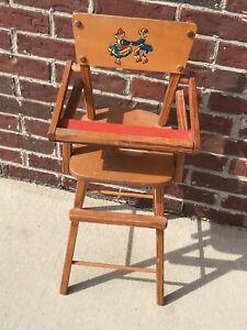 Vintage Wood Doll High Chair Ebay