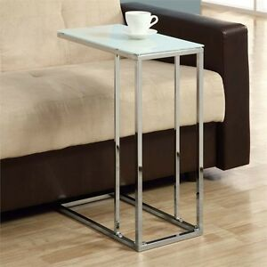 Details about Snack end Table Glass Top New Art Deco House Contemporary  Slide Under Couch New