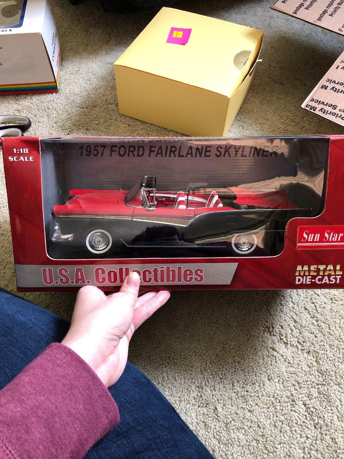 1957 Sun Star Ford Fairlane 1 18 escala U.s.a. Coleccionables Llama Roja Negra
