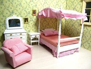 Image Is Loading 1 12 Dollhouse Miniature Bedroom Furniture Set Canopy