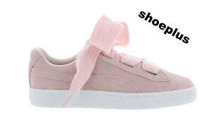 pink and white puma suedes