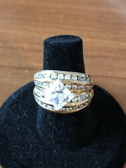 REDUCED**Stunning Gold plated 925 Square CZ Women's Cocktail Ring Size 6