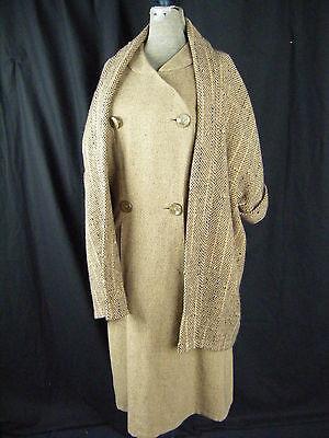 Anthony Blotta Vtg 50er Jahre Braun/schwarze Wolle Designer 2-tlg. Kleid &