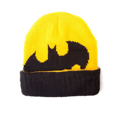 OFFICIAL DC COMICS BATMAN SYMBOL YELLOW & BLACK BEANIE HAT (BRAND NEW)