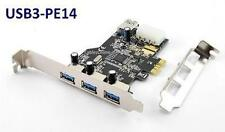 USB 3.0 PCI-Express 3+1 Port Card with 4-Pin Molex Power + Low Profile Bracket
