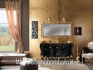 Mobile bagno stile barocco doppio lavabo top cristallo con