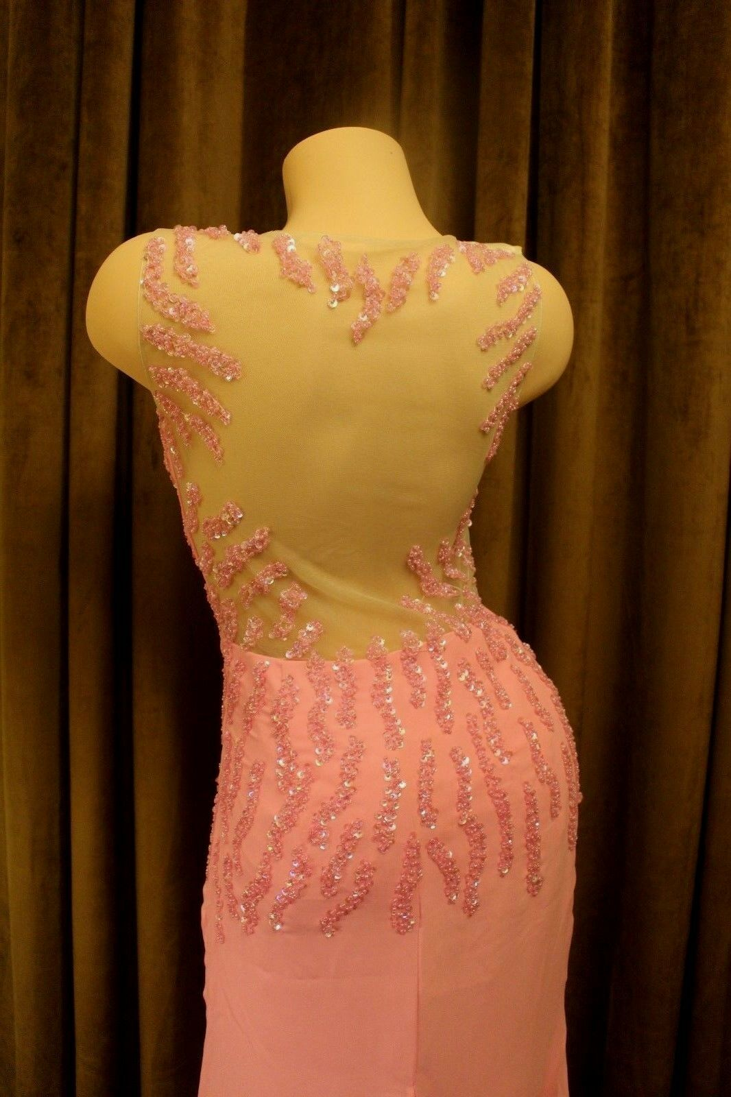 Amazing and Sexy Light Pink Mesh Beaded Sequin Formal Wedding Prom Gown Dress 4