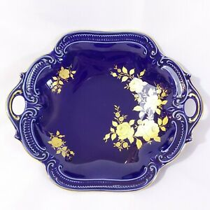 Echt-Kobalt-24kt-Gold-Wunsiedel-9-inch-Bowl-Serving-Dish-Bavaria-Germany-Cobalt