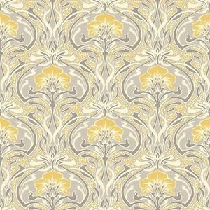 Image Is Loading Grey And Yellow Retro Floral Wallpaper Art Deco