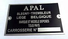 Plaque constructeur BUGGY APAL - BUGGY APAL vin plate - BUGGY APAL typenschild