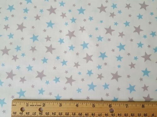 Team Thomas BTY Quilting Treasures Thomas the Train Gray Blue Stars on White