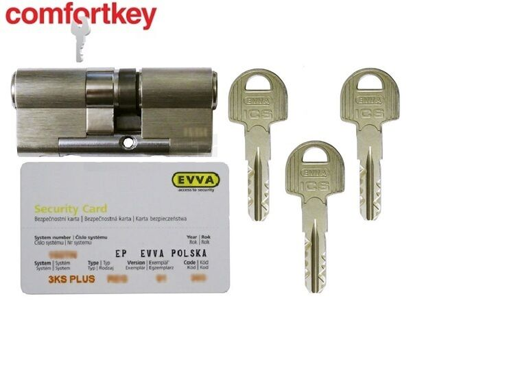 Evva ICS reinforced high security euro profile cylinder, grade 6,2  3 keys