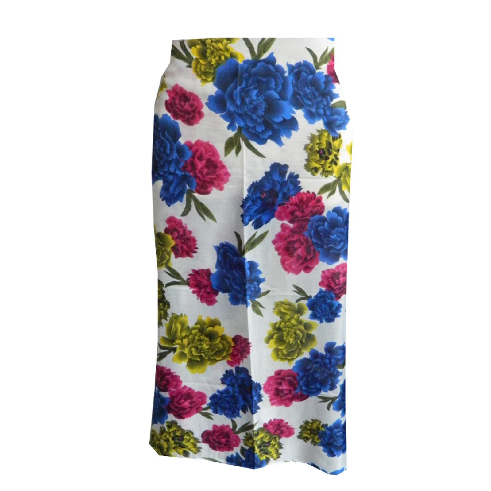 Pareo Blume 170x100 cm blau pink gelb Sarong Polyester Strandtuch Wickelkleid