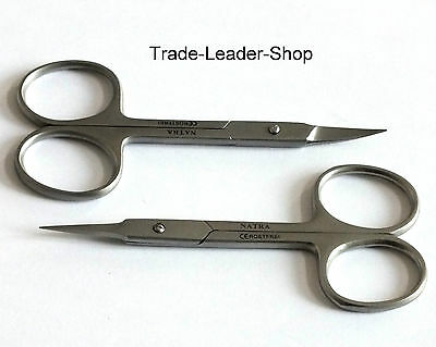 2x Nail Cuticle Scissors Clippers Nail care 9.5 cm Stainless Steel NATRA Germany