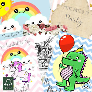 Details About Birthday Party Invitations Kids Party Invites Boy Girl 1st Birthday Invitation
