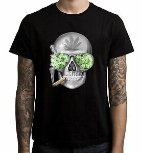 SKULL-fumare-cannabis-T-Shirt-Uomo-Weed-Hydroponics-Spliff