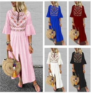 Bohemian-Womens-Vintage-Print-Long-Dress-Maxi-Casual-V-Neck-Flare-Sleeve-Ethnic