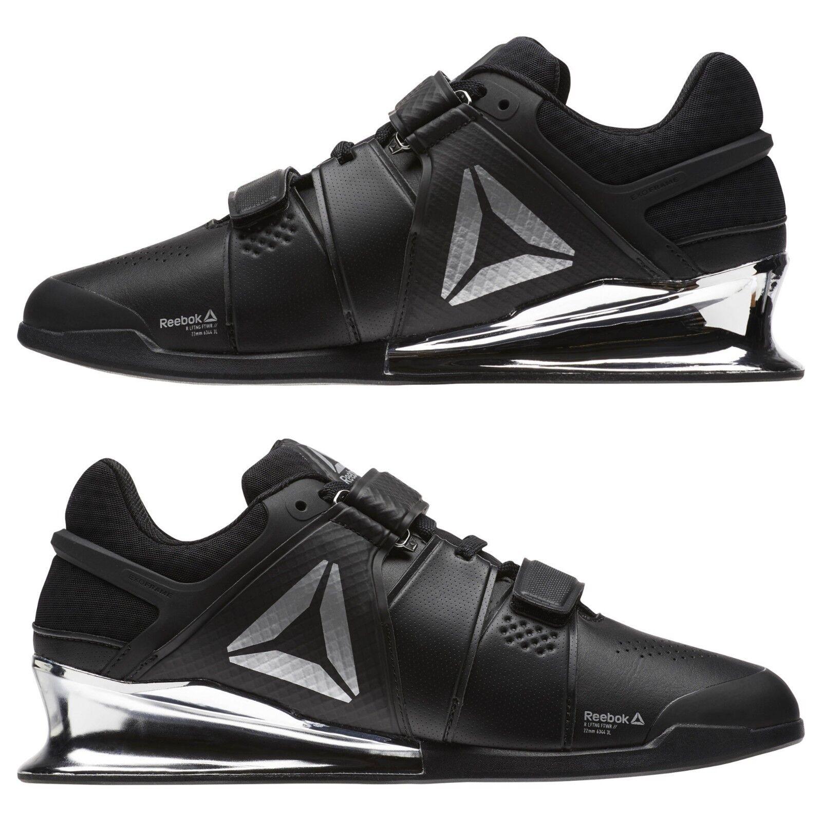 Reebok Legacy Lifter Men Weightlifting Training Gym shoes Black Silver CN1002