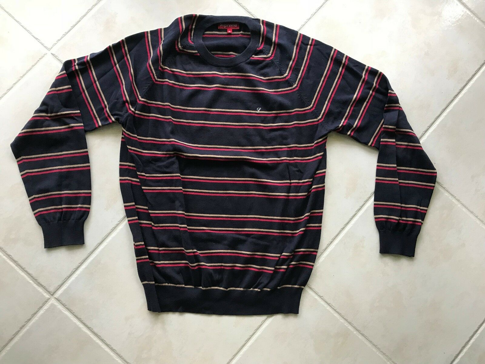 RARE Supreme Long Sleeve Striped Sweater FW10 Pull Over Shirt Navy Size XL